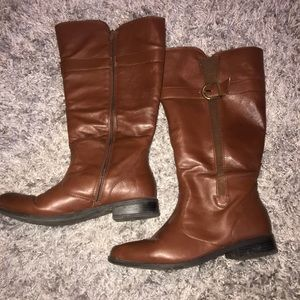 Brown wide calf boots